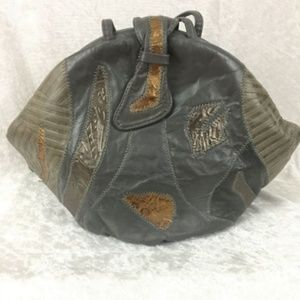 REDUCED 80s Patchwork Leather Purse Gray Metallic